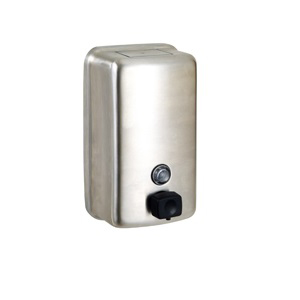 ML602BS Ellipse Round Face Soap Dispenser - Stainless Steel with Button Pump