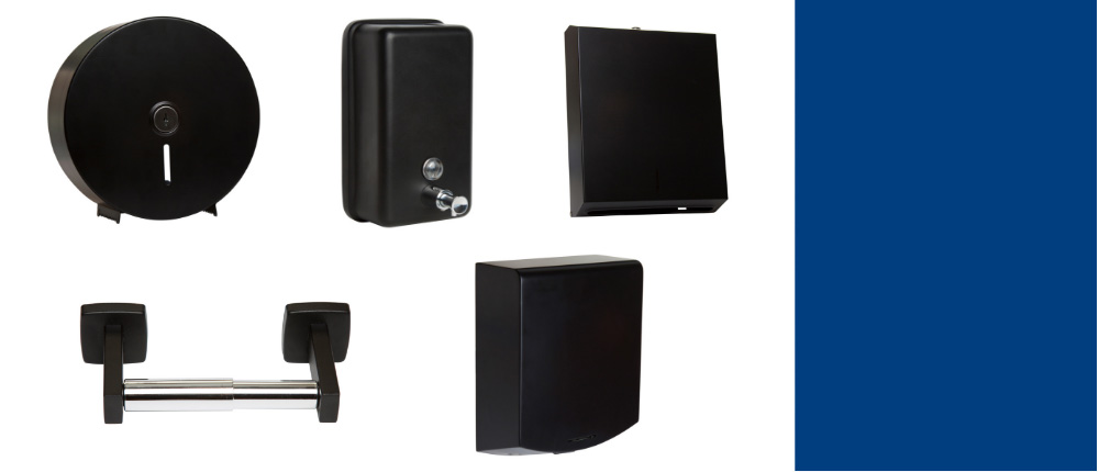 Designer range of black commercial wahsroom accessories