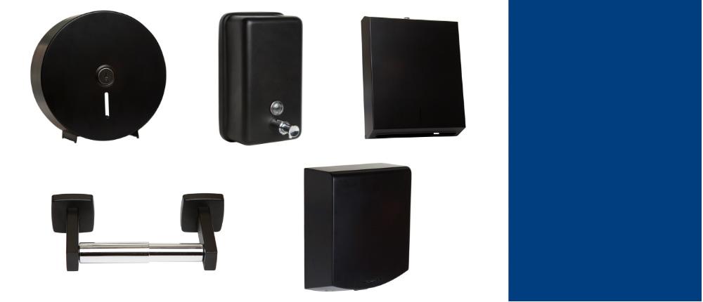 Designer range of black commercial wahsroom accessories