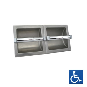 ML262 Recessed Double Toilet Roll Holder - Stainless Steel