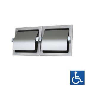 ML263 Recessed Double Toilet Roll Holder - Stainless Steel