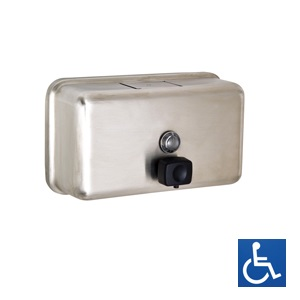 ML600BS Horizontal Soap Dispenser - Stainless Steel with Button Pump