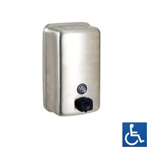 ML605BS Vertical Soap Dispenser - Stainless Steel with Button Pump Valve